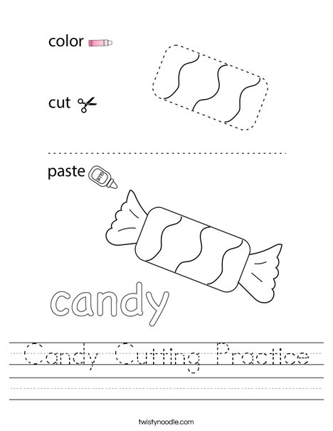 Candy Cutting Practice Worksheet