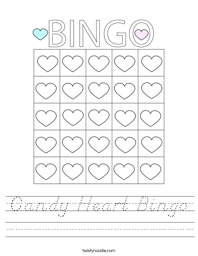 Candy Heart Bingo Worksheet