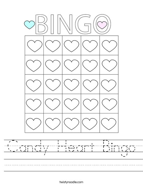 Candy Heart Bingo Worksheet