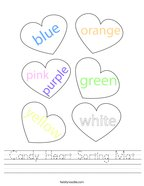 Candy Heart Sorting Mat Handwriting Sheet