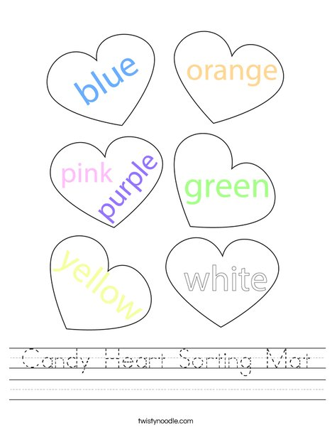 Candy Heart Sorting Mat Worksheet
