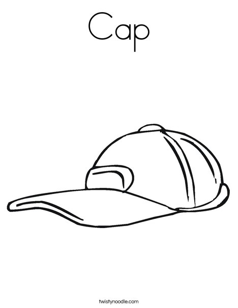 Cap Coloring Page - Twisty Noodle