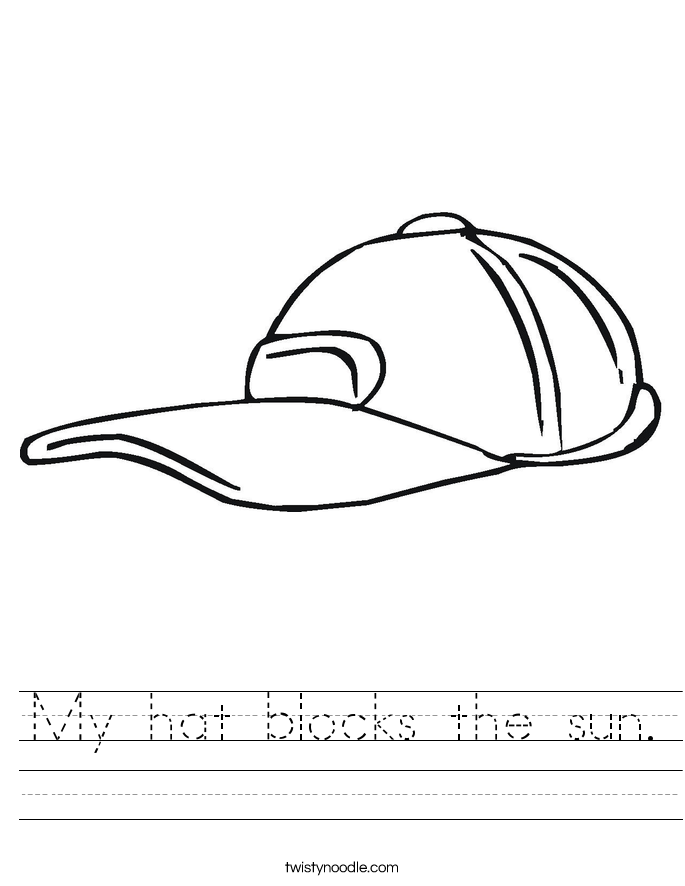 My hat blocks the sun. Worksheet
