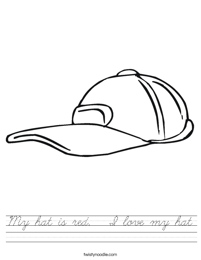 My hat is red.   I love my hat Worksheet