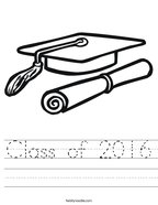 Class of 2016 Handwriting Sheet