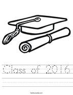 Class of 2016 Handwriting Sheet