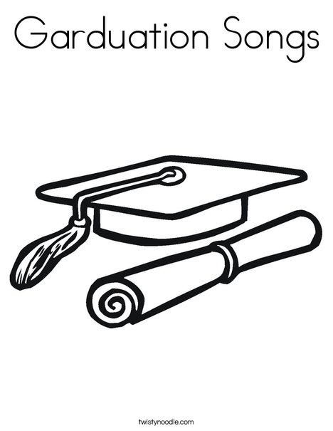 Cap and Diploma Coloring Page