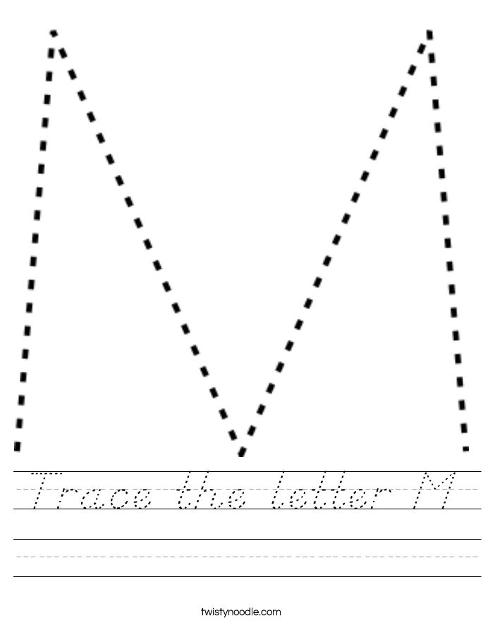 Trace the letter M Worksheet