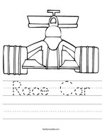 Race Car Handwriting Sheet