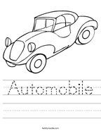 Automobile Handwriting Sheet
