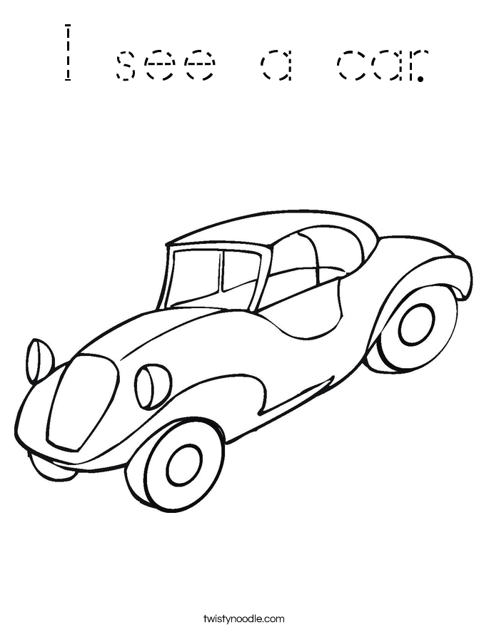 I see a car. Coloring Page