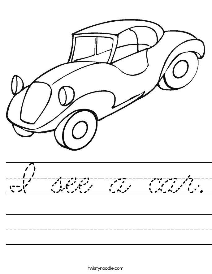 I see a car. Worksheet