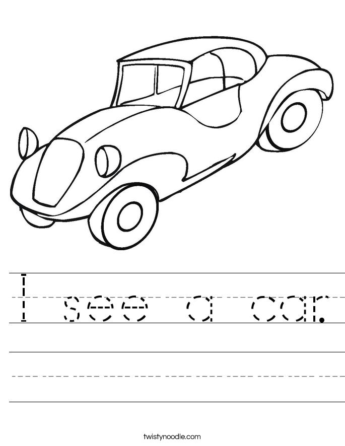 i see a car worksheet twisty noodle. Black Bedroom Furniture Sets. Home Design Ideas