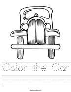 Color the Car Handwriting Sheet