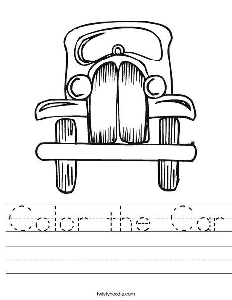 Old Fashioned Car Worksheet