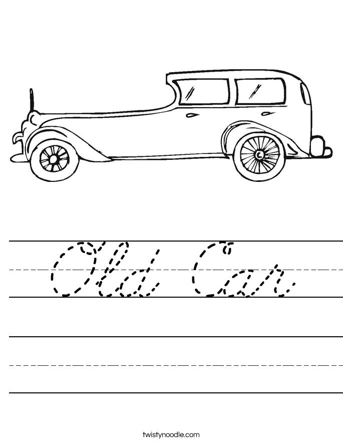Old Car Worksheet