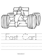 Fast Car Handwriting Sheet