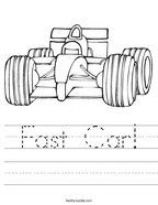 Fast Car Handwriting Sheet