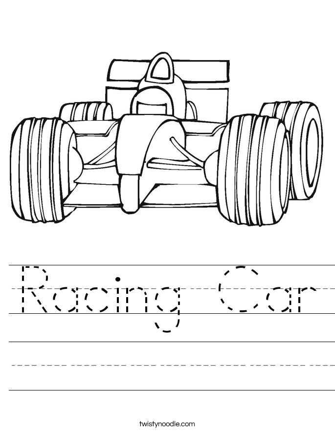 Racing Car Worksheet