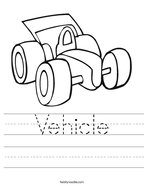 Vehicle Handwriting Sheet