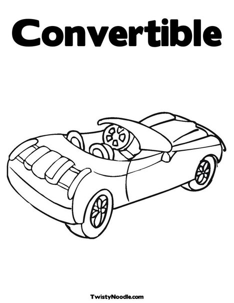Free coloring pages of convertible car for Convertible car coloring pages