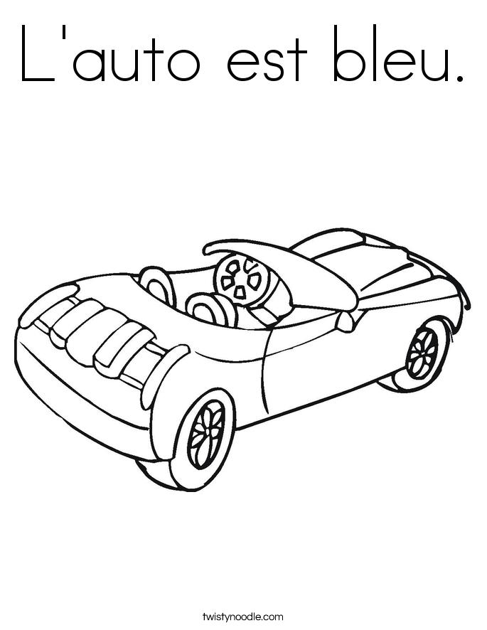 L'auto est bleu. Coloring Page