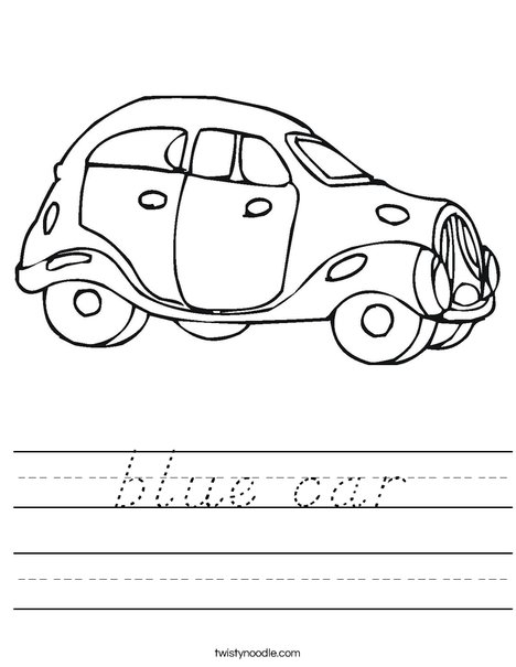 Blue Car Worksheet