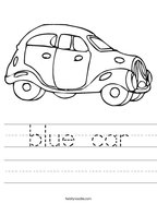 blue car Handwriting Sheet