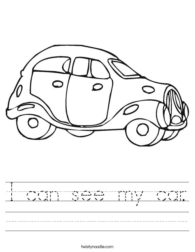 I can see my car. Worksheet