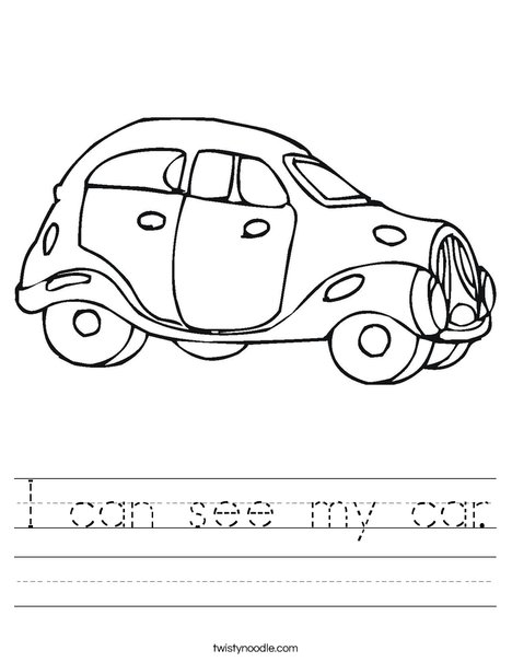 Blue Car Worksheet