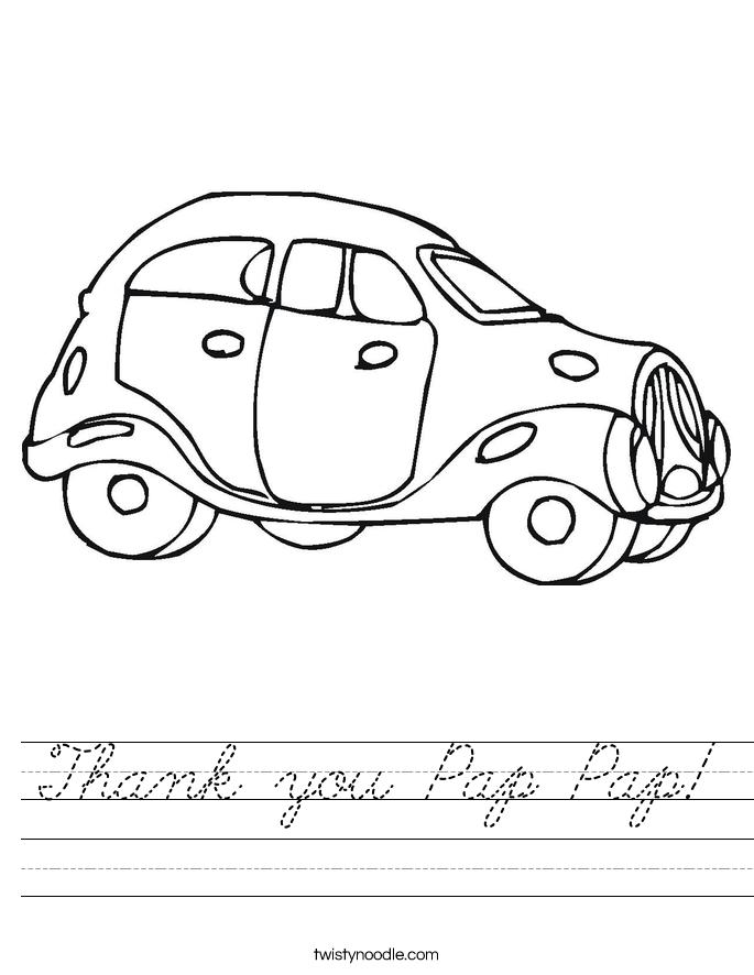 Thank you Pap Pap! Worksheet