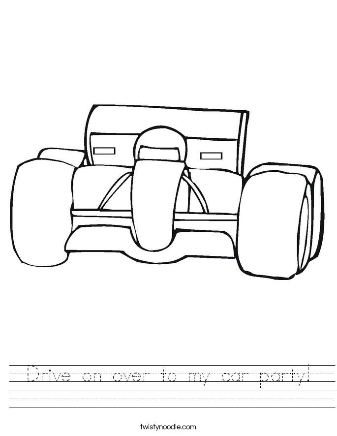 Drive on over to my car party! Worksheet