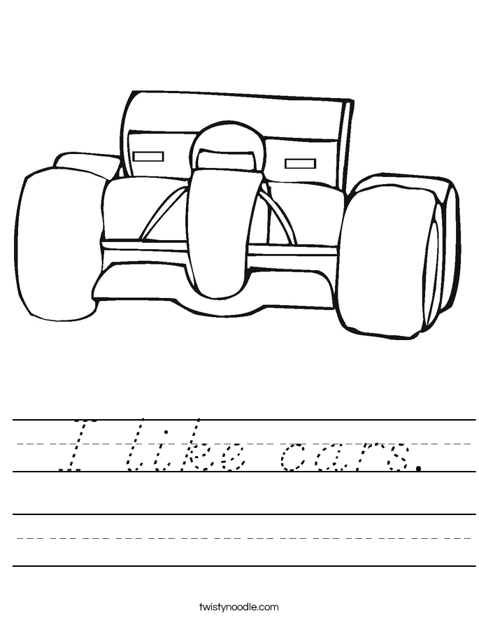 I like cars. Worksheet