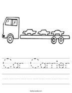 Car Carrier Handwriting Sheet