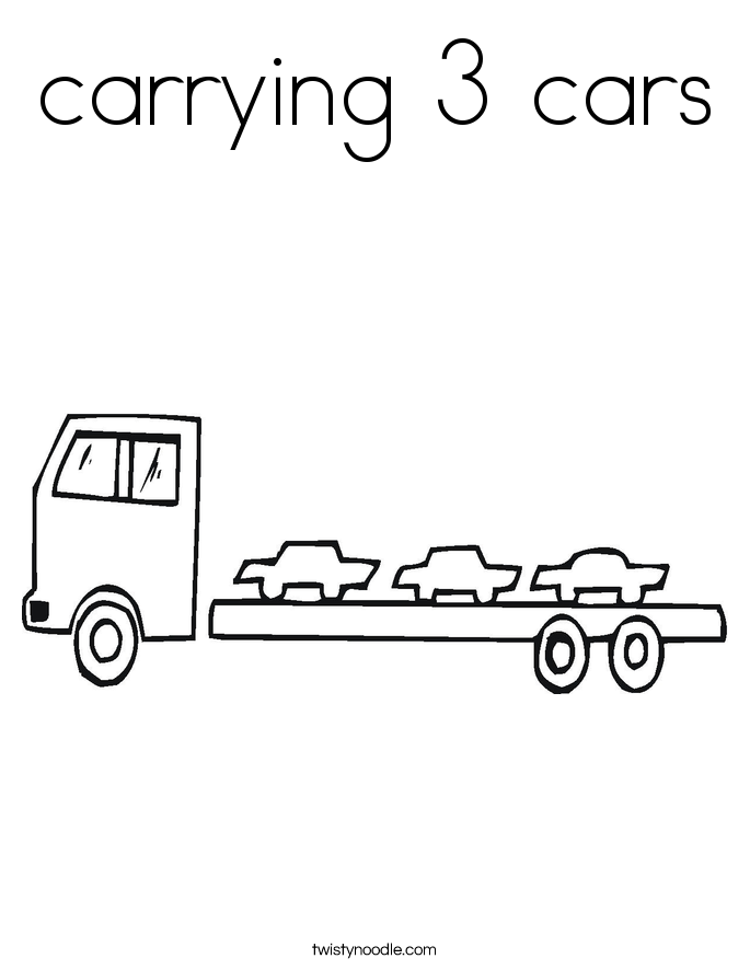 carrying 3 cars Coloring Page