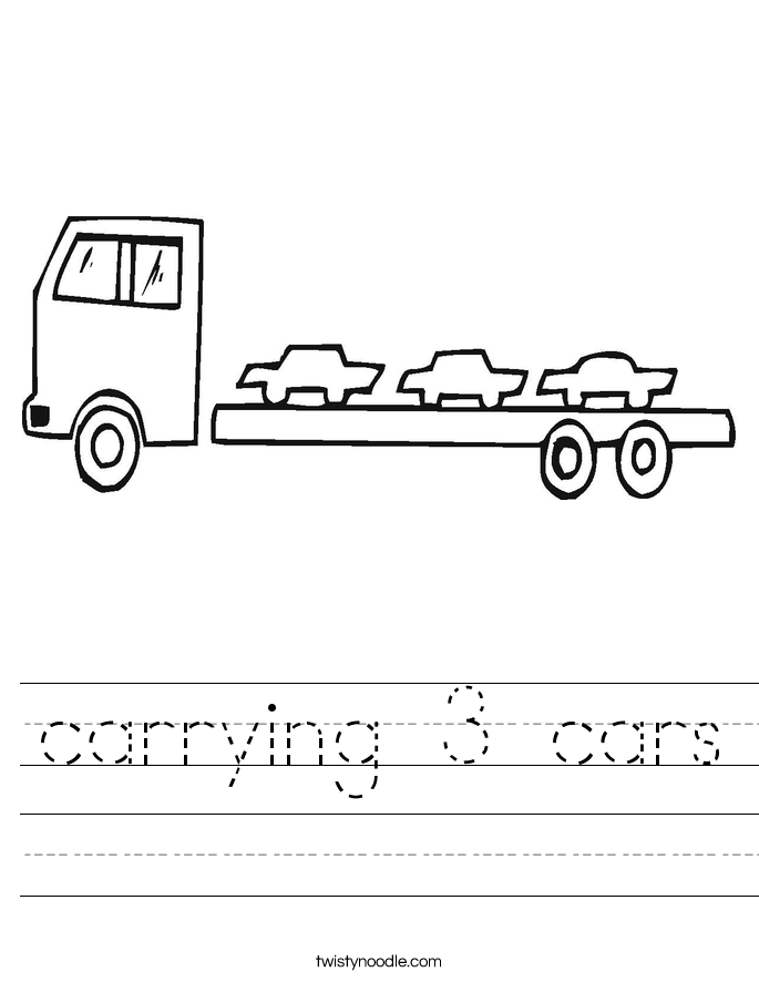 carrying 3 cars Worksheet