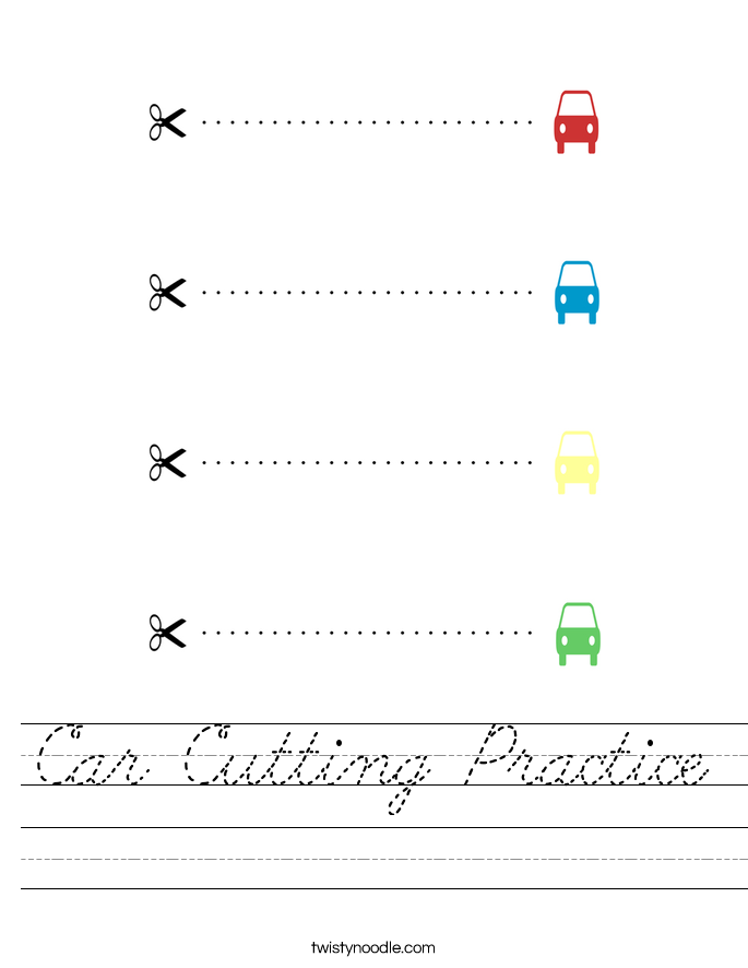 Car Cutting Practice Worksheet