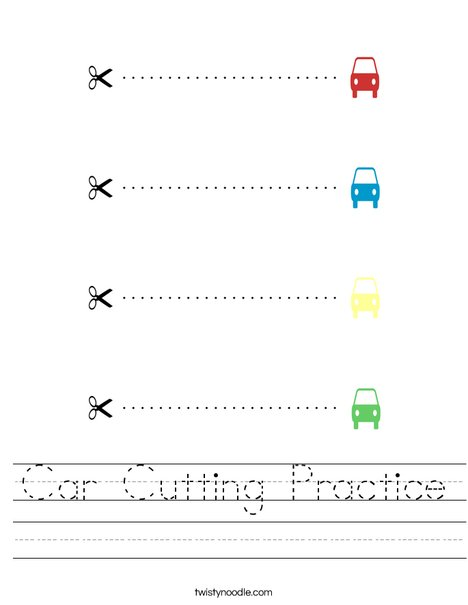 Car Cutting Practice Worksheet