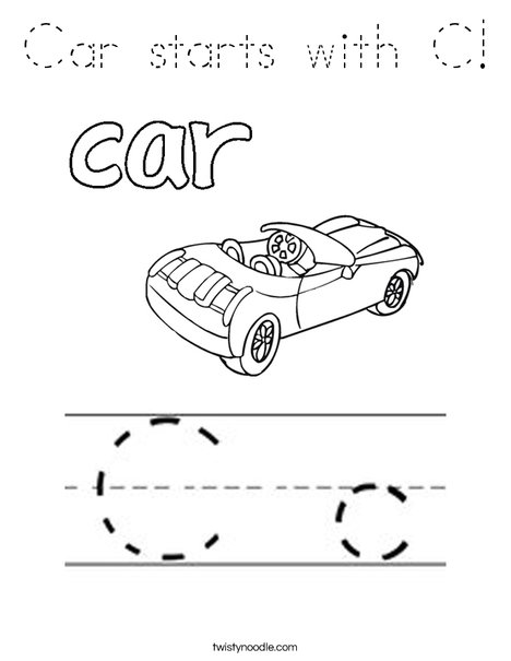 Car starts with C! Coloring Page