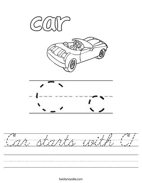 Car starts with C! Worksheet