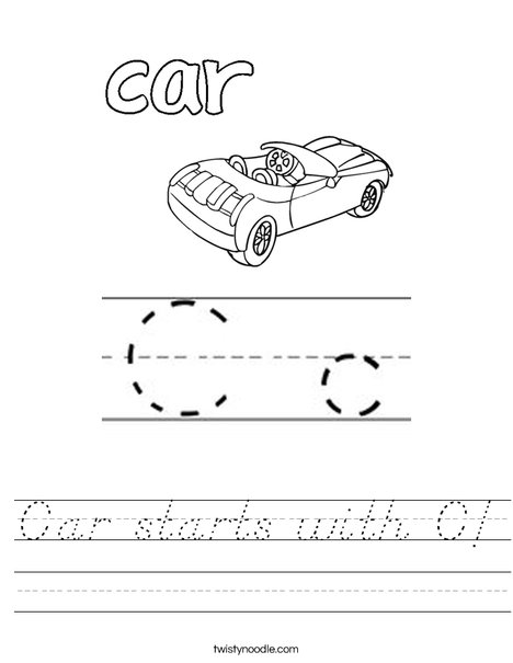Car starts with C! Worksheet