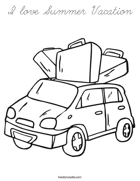 Car with Luggage Coloring Page