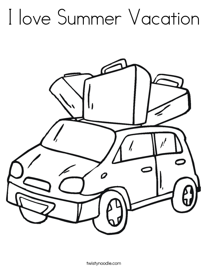 I love Summer Vacation Coloring Page