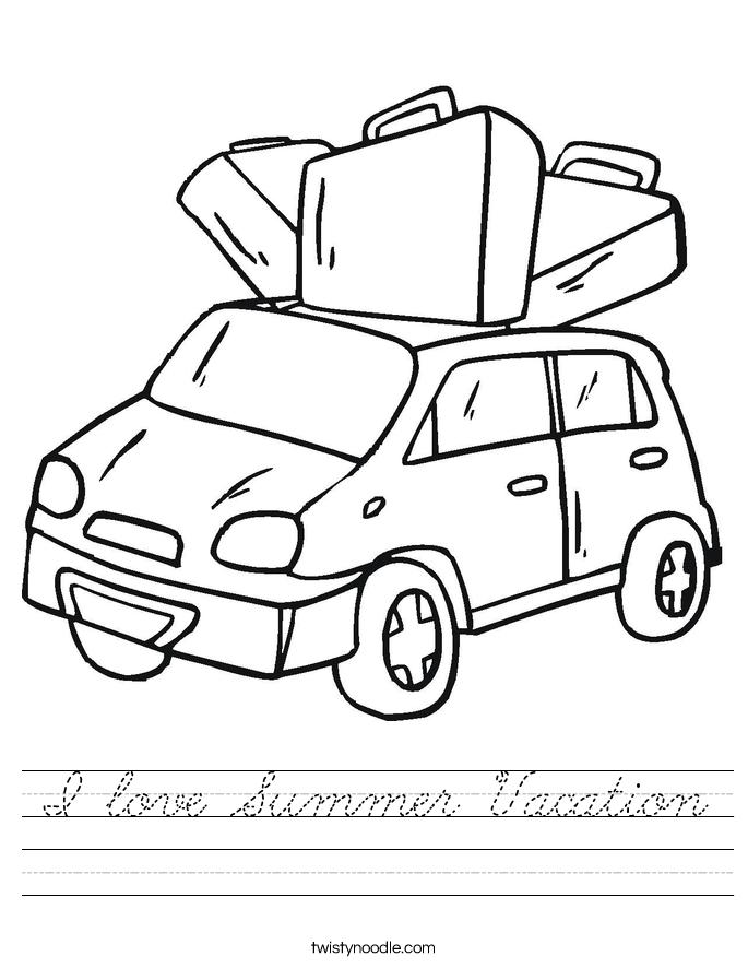I love Summer Vacation Worksheet
