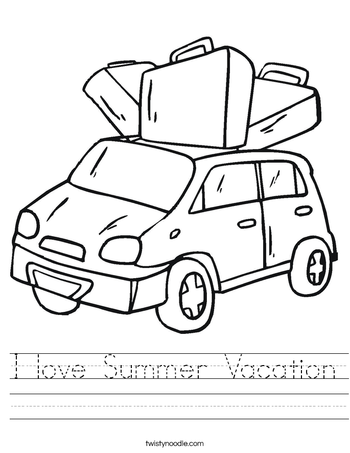 I love Summer Vacation Worksheet