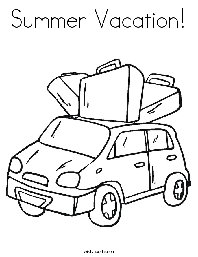 Summer Vacation! Coloring Page