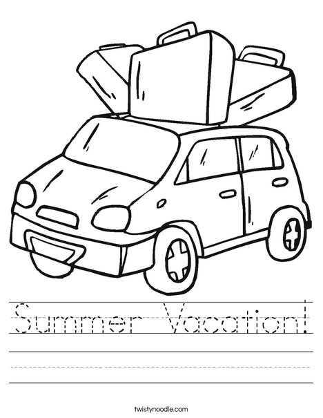 Car with Luggage Worksheet