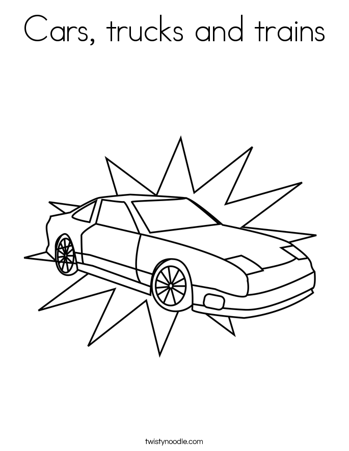 Cars, trucks and trains Coloring Page