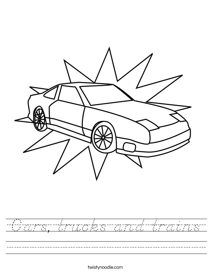 Cars, trucks and trains Worksheet