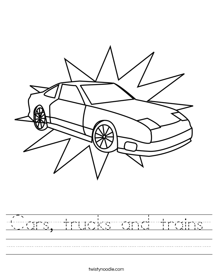 Cars, trucks and trains Worksheet